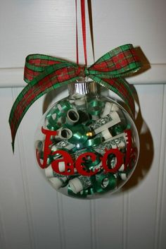 gifts money gift ideas for christmas (a money ornament) Easy Diy Christmas Gifts, Xmas Gifts, Craft Gifts, Holiday Crafts, Diy Gifts, Christmas Holidays, Christmas Ornaments, Glass Ornaments, Christmas Ideas