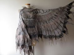 Winged shawl Wings scarf  Felted scarf  costume wings  от galafilc