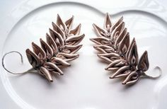 Bridal millinery pewter/crystal/satin leaves for от MilleFiore, $55.00
