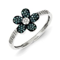 Sterling Silver 1/4 Carat Blue White Diamond Flower Ring Available Exclusively at Gemologica.com