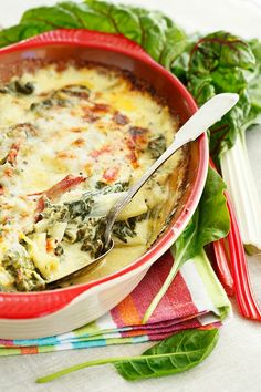 Swiss chard gratin with cheese.