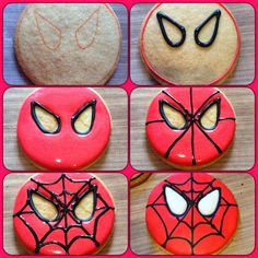 The Bake Files: Spiderman and Batman Cookies - Visit to grab an amazing super hero shirt now on sale! Cookies For Kids, Fancy Cookies, Cute Cookies, Cupcake Cookies, Sugar Cookies, Spiderman Cookies, Superhero Cookies, Superhero Party, Birthday Cookies