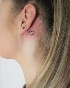 Web Tattoo: Behind the Ear Tattoo: 70 Different Ideas to Get Inspired Cute Tiny Tattoos, Mini Tattoos, Body Art Tattoos, Small Tattoos, Cross Heart Tattoos, Cross Tattoos For Women, Lip Piercing, Piercings, Symbols Of Strength Tattoos