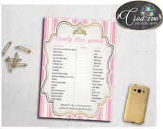 Royal Baby Shower CANDY BAR little princess game printable, royal pink and gold crown, digital files, Jpg Pdf, instant download - rp002 #babyshowerparty #babyshowerinvites