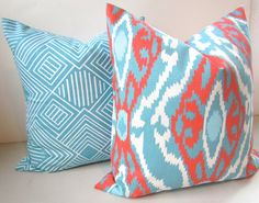 GET A WHOLE NEW LOOK JUST BY USING PILLOW COVERS! THE PILLOW COVERS CAN GO OVER A PILLOW INSERT OR YOUR EXISTING PILLOWS!  Add a FRESH NEW DESIGNER LOOK to any room with this pillow cover made for any size of pillow. It features gorgeous Chevron, ikat, Diamond, Lines, and Star fish patterns all in Aqua Turquoise Blue and Coral on a White background. Theyre made up of a woven 100% decorator weight cotton fabric.  * * * MIX AND MATCH ANY COMBINATION OF THESE SIZES & PATTERNS  WITH THESE COO...