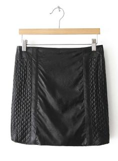 Falda piel cuadros-Negro EUR€17.99
