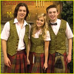 Leo Howard, Olivia Holt, and Dylan Riley Snyder in kilts. I have never seen something so perfect. Kickin It Cast, Jason Earles, Leo Howard, Ella Enchanted, Walk To Remember, The Last Song, Dragon Girl, Austin And Ally, Olivia Holt