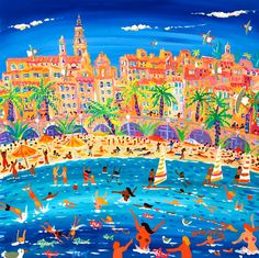 Swimming, Sailing and Snorkeling, Menton 24 x 24 inches, acrylic on canvas 61 x 61 cm, acrylique sur toile John Dyer, Beach Art, Snorkeling, Fireworks, Provence, Martini, Sailing, Original Paintings, Scenery