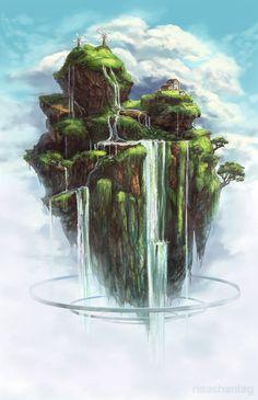 Waterfall Island by Risachantag.deviantart.com on @deviantART