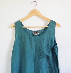 SALE! 80s Forenza Silk Tank Top -- Vintage Tissue Thin Turquoise Camisole -- Minimalist Shirt -- Womens Size Medium