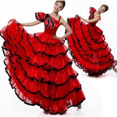 786812458f2e Folk Dance Dresses : Black red patchwork one shoulder women's ladies female  sexy fashion flamenco Spanish bull dance opening dancing stage performance  long ...