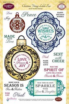 JustRite - Clear Acrylic Stamps - Christmas Vintage Labels Four at Scrapbook.com