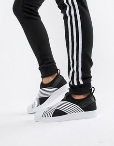 new arrival 20e06 283d3 adidas Originals Superstar Slip On Sneakers In Black And White  Sneakers Slip  On Trainers,