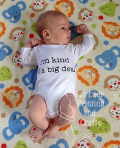 """""""I'm kind of a big deal"""" Great onesie for any bubba out there as we all know they really are a big deal! Our onesies are printed to order, we will hand screen print the design onto a cotton onesie, your choice of size from NB right up to size 2, in either long sleeve or short sleeve. We also currently have a choice of ink colours (red/blue/black) with more options to come soon. Please use the comment box in your checkout if you wish Red or Blue ink, otherwise we will use black.. ** We…"""