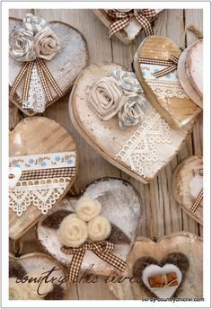 <3 decorated wood hearts