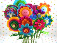 Felt flowers  great idea for someone allergic to flowers or in the icu or hospital!