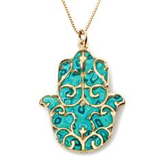 Gold Hamsa Necklace with Fleur de Lis Pendant - Turquoise Jewelry - Handmade Polymer Clay - Gift Ideas - Hand of Fatima - Jewelry For Her Hamsa Jewelry, Hamsa Necklace, Pendant Jewelry, Arte Judaica, Jewish Jewelry, Hand Of Fatima, Jewelry For Her, Polymer Clay Jewelry, Polymer Beads