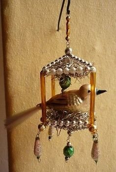 VTG-GLASS-BEADED-BIRD-IN-A-CAGE-CHRISTMAS-TREE-ORNAMENT