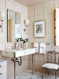 Bathroom Design, Decor Bathroom, Beautiful Bathroom, Bathroom Idea, Wooden Wall, Powder Rooms, Paneled Walls