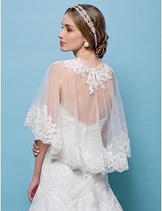Wedding Wraps Capelets Tulle White/Beige – USD $ 46.99