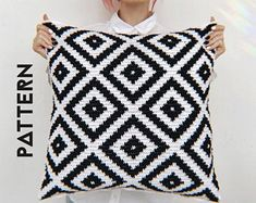 Scandinavian Crochet Pillow Cover Easy Pattern For Beginners, Crochet Cushion Pillowcase Tutorial DIY Step By Step PDF PDF Pattern is set out in two parts and 10 pages). This easy pattern is suitable for beginners and include text, pho. Crochet Cushion Cover, Crochet Pillow Pattern, Crochet Cushions, Tapestry Crochet, Crochet Patterns, Crochet Blocks, Crochet Pillow Covers, Cushion Cover Pattern, Afghan Patterns