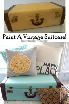 Kammy's Korner: Paint A Vintage Suitcase!  Aqua blue turquoise color pop