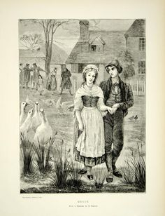 1870 Wood Engraving Edgar Barclay Art Geese Portrait Lovers Romance YTG1