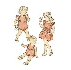 1940s Toddlers Sunsuit Pattern Butterick 3373 Childs Girls Pinafore Dirndl Skirt Sunsuit Romper Childrens Vintage Sewing Pattern Breast 22