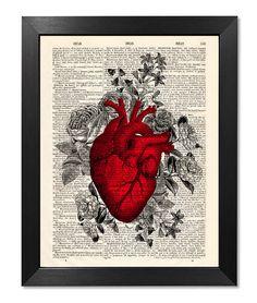 Anatomical red heart flowers print Anatomical от RetroSalonPrint