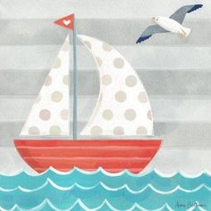 Oopsy Daisy Lets Set Sail Boat by Anne Bollman Canvas Art Sailboat Art, Sailboat Painting, Art Wall Kids, Art For Kids, Child Draw, Painting For Kids, Nautical Theme, Painted Rocks, Canvas Wall Art