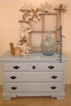 """Perfect size maple dresser painted in """"Running Brook"""" chalk paint"""