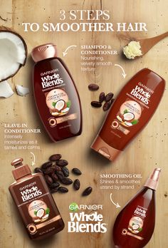 Striving for straight, smooth hair? Then Find Your Blend that fights frizz. Garnier Whole Blends Smoothing Haircare is paraben-free and blooms with the essence of Coconut Oil and Cocoa Butter extracts to smooth and nourish. Plus, the luxurious Smoothing Leave-in Conditioner tames unwanted flyaways and the Smoothing Oil delivers a shine that lasts all day - even in high humidity. Discover Smoothing Haircare Now.