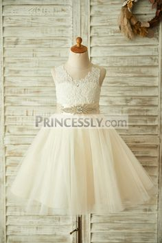 1c1fd096622 Princessly.com-K1003361-Champagne Lace Tulle Sheer Back Wedding Flower Girl  Dress with