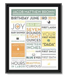 Customized Baby Book Print. $46.00, via Etsy.
