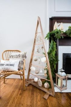 DIY Life-Sized Ornament Christmas Tree-Copper + Wood: The Ultimate Faux Tree with instructions Wooden Christmas Trees, Rustic Christmas, Christmas Tree Ornaments, Christmas Crafts, Ornament Tree, Silver Ornaments, Minimalist Christmas Tree, Christmas Christmas, Handmade Christmas