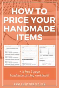 Want to create the perfect pricing point for your handmade items? I will break down everything when it comes to pricing your handmade items and a free workbook is included! - Crafting Tips Etsy Business, Craft Business, Creative Business, Online Business, Crafts To Make And Sell, How To Make Money, Money Making Crafts, Business Planning, Business Tips