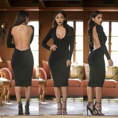 New Open Back Bodycon Dress