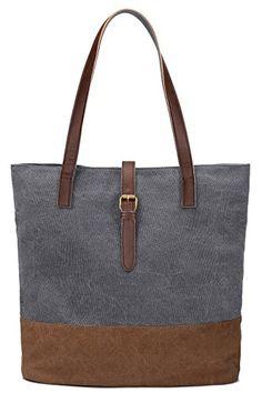 6e45fd1bf9 S-ZONE Women s Canvas Tote Lightweight Shoulder Bag Ladies Handbag Shopping  Purse - Now Fashion Shop