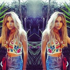 Ashley has the perfect Coachella outfit on. | Pretty Little Liars - she reminds me of Cara Delavigne (however it's spelt) here