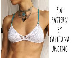 This listing is PDF CROCHET PATTERN for Capheira Bikini top and Brazilian Bottom, Not finished items:) Skill level: EASY, INTERMEDIATE You should know the basic stiches: chain stitch, single crochet, slip stitch, double crochet, halfdouble crochet. All the other sticthes used in the pattern are explained. This pattern is written in standard American terms and includes lot of photos of the process. And Also includes Crochet CHART SYMBOLS for EVERY size: XS, S, M, L! Pattern includes…