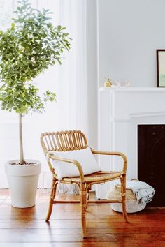 """I definitely like to mix modern with traditional and am also a sucker for some rattan or caning to add a dose of a coastal feeling,"" says Amanda. #dwell #moderndesign #homedecor Linen Couch, Berkeley Homes, Charleston Homes, Cozy Nook, Living Room Chairs, Architecture Details, Decoration, My Room, Decorating Tips"