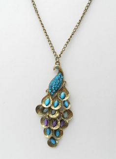 Green Eyed Lady - Colorful Peacock Necklace