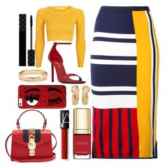 """""""Tommy Hilfiger Skirt"""" by pulseofthematter ❤ liked on Polyvore featuring Tommy Hilfiger, Topshop, Yves Saint Laurent, Chiara Ferragni, Gucci, Dolce&Gabbana and NARS Cosmetics"""