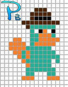 Perry Phineas & Ferb perler pattern - Patrones Beads / Plantillas para Hama