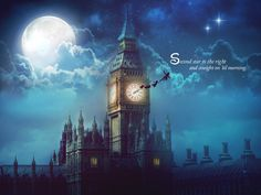 When insomnia strikes imagination flourishes. Second star to the right and straight on til morning. My favourite story of all time. You can become older without growing old. If you don't play then you won't know! You can fly by ash_cambridge Disney Movie Scenes, Disney Movies, Disney Pixar, Peter Pan Movie 2003, London Skyline Silhouette, J M Barrie, Disney Sleeve, Mermaid Lagoon, Aristocats