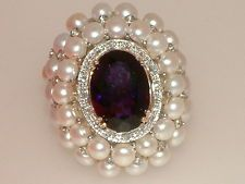 HUGE 9 ct GOld 10.00 carat Amethyst Pearl & Diamond ring   BIG!!!!