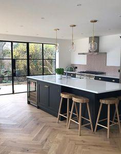 Industrial Kitchen Design, Kitchen Room Design, Kitchen Layout, Home Decor Kitchen, Home Kitchens, Modern Kitchens, Kitchen Ideas, Modern Kitchen Designs, Brown Kitchen Interior