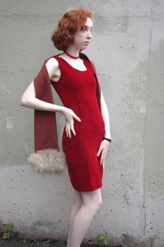 Vintage 1960s Dress // 60s Red Velvet Fitted Bombshell Wiggle Dress // Mad Men Cocktail Party by TrueValueVintage on Etsy