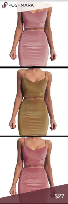 2017 New Women Camis Dress Body Con Two Piece AlEnny Two Piece Body Con Dress Pink and Brown AlEnny Dresses Mini