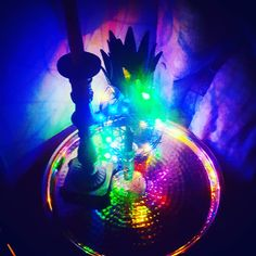 A neon light up pineapple on a metallic table makes is a fabulous bedside light and adds fun! Bedside Lighting, Neon Lighting, Light Up, Pineapple, Metallic, Photo And Video, Table, How To Make, Fun